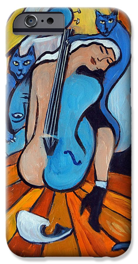 Cubic Abstract IPhone 6s Case featuring the painting Les Chats Bleus by Valerie Vescovi