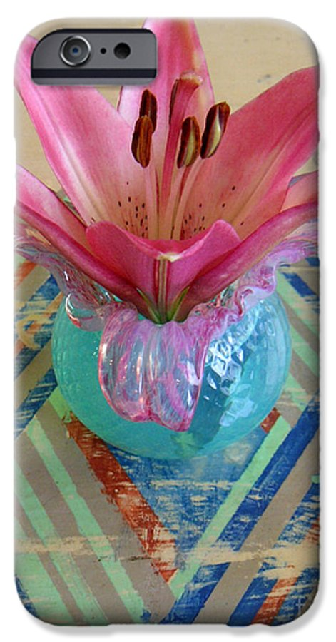 Nature IPhone 6s Case featuring the photograph Lily On A Painted Table Too by Lucyna A M Green
