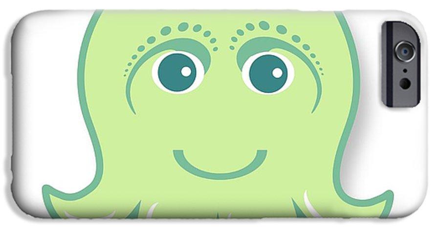 Little Octopus IPhone 6s Case featuring the digital art Little cute green octopus by Ainnion
