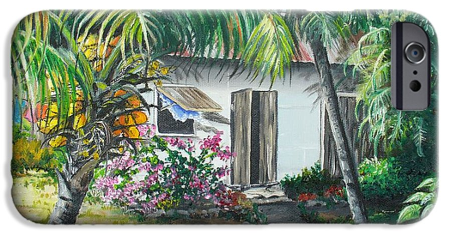 Caribbean Painting Typical Country House In Trinidad And The Islands With Coconut Tree Tropical Painting IPhone 6s Case featuring the painting Little West Indian House 2...sold by Karin Dawn Kelshall- Best
