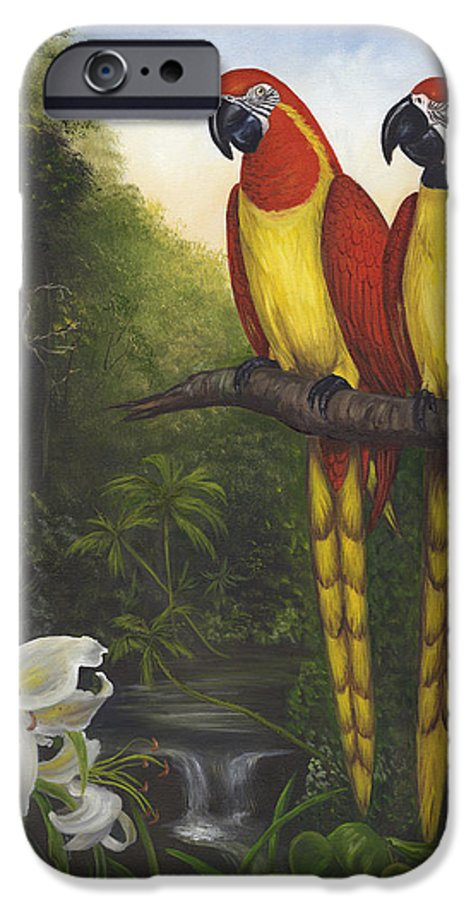 Landscape IPhone 6s Case featuring the painting Macaws And Lillies by Anne Kushnick