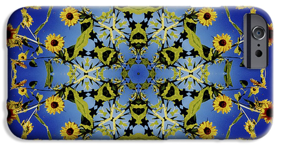 Mandala IPhone 6s Case featuring the digital art Mandala Sunflower by Nancy Griswold