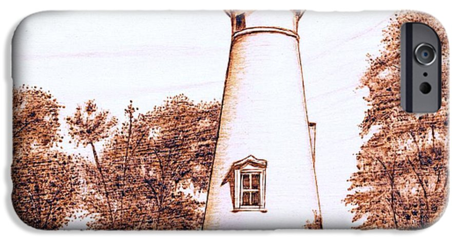 Lighthouse IPhone 6s Case featuring the pyrography Marblehead Lighthouse by Danette Smith