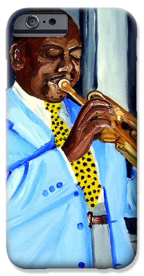 Street Musician IPhone 6s Case featuring the painting Master Of Jazz by Michael Lee