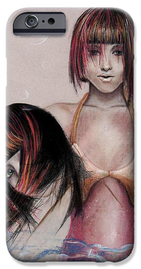 Mermaid IPhone 6s Case featuring the drawing Mermaid Emerging by Maryn Crawford