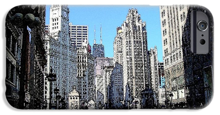Chicago IPhone 6s Case featuring the digital art Michigan Ave Wide by Anita Burgermeister