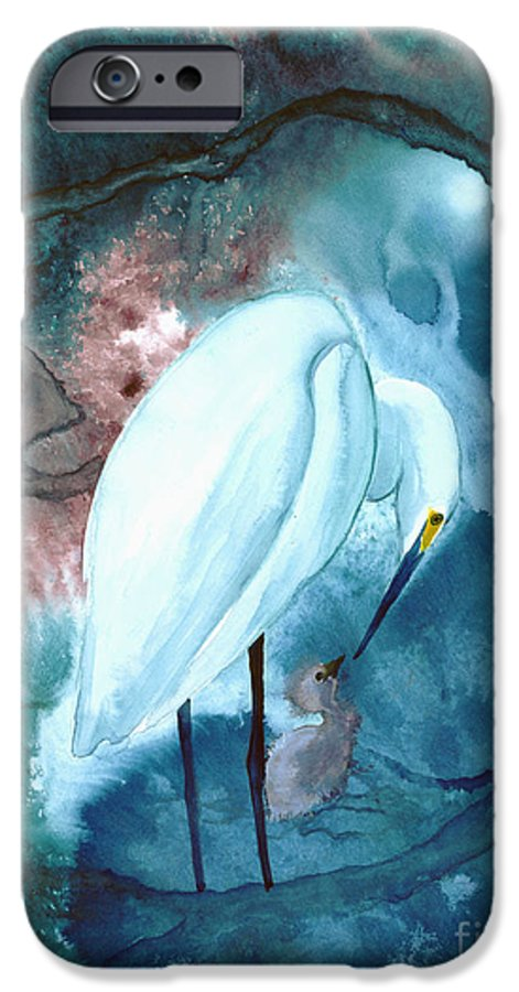 A Mother Egret With Her Chick- A Watercolor Painting IPhone 6s Case featuring the painting Mother And Child by Mui-Joo Wee