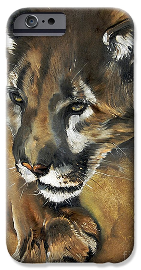Southwest Art IPhone 6s Case featuring the painting Mountain Lion - Guardian Of The North by J W Baker