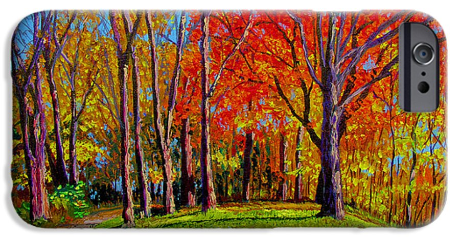 Trees Autumn Hill Grass Sunshine Shadows Sky Colors Path IPhone 6s Case featuring the painting Nashville North by Stan Hamilton