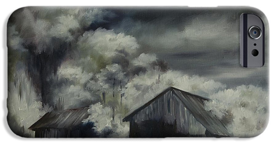 Motel; Route 66; Desert; Abandoned; Delapidated; Lost; Highway; Route 66; Road; Vacancy; Run-down; Building; Old Signage; Nastalgia; Vintage; James Christopher Hill; Jameshillgallery.com; Foliage; Sky; Realism; Oils; Barn IPhone 6s Case featuring the painting Night Barn by James Christopher Hill