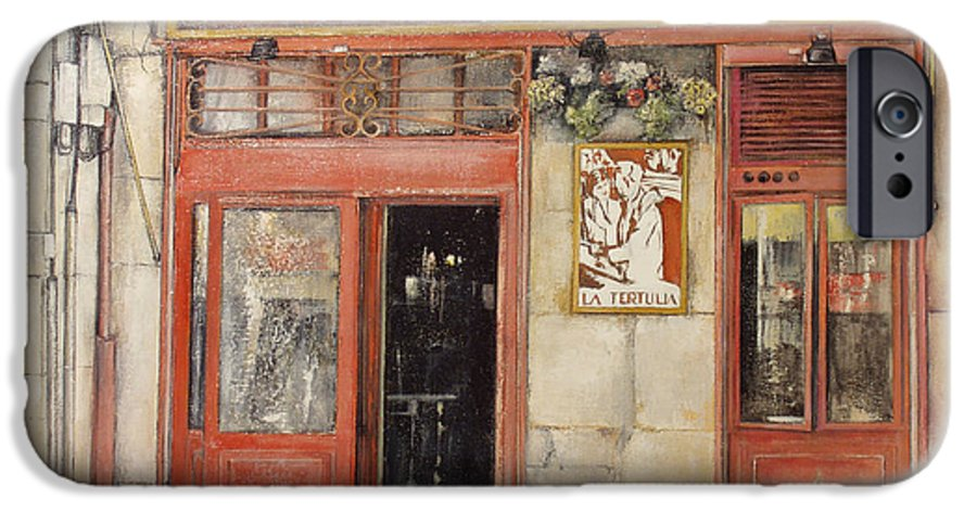 Cafe IPhone 6s Case featuring the painting Old Cafe- Santander Spain by Tomas Castano