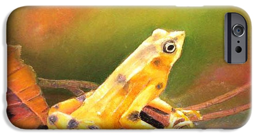 Endangered IPhone 6s Case featuring the painting Panamenian Golden Frog by Ceci Watson