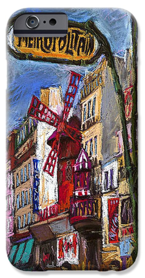 Cityscape IPhone 6s Case featuring the painting Paris Mulen Rouge by Yuriy Shevchuk