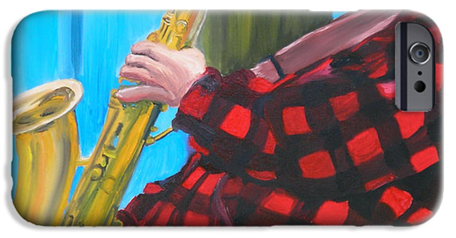 Sax Player IPhone 6s Case featuring the painting Play It Mr Sax Man by Michael Lee