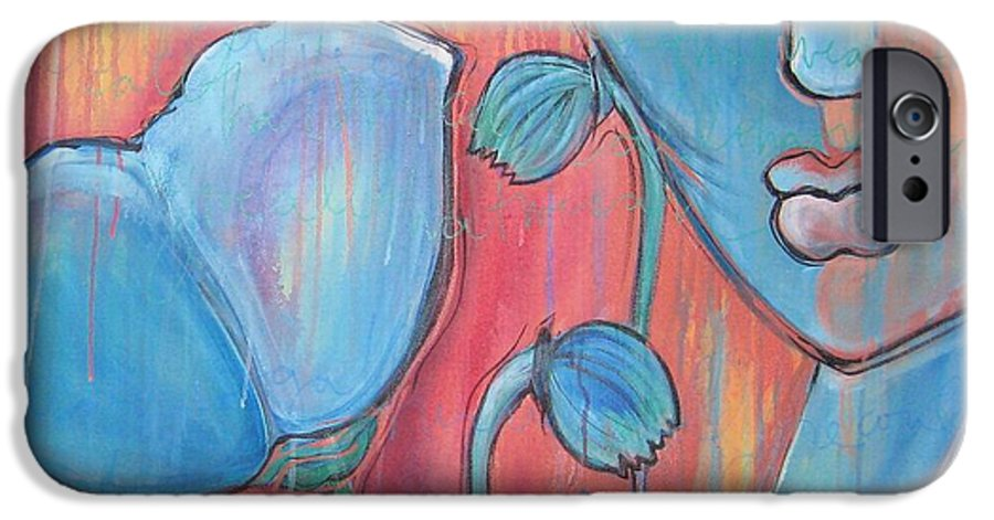 Pop Art IPhone 6s Case featuring the painting Poppies 7 Luna Let Me Go by Laurie Maves ART