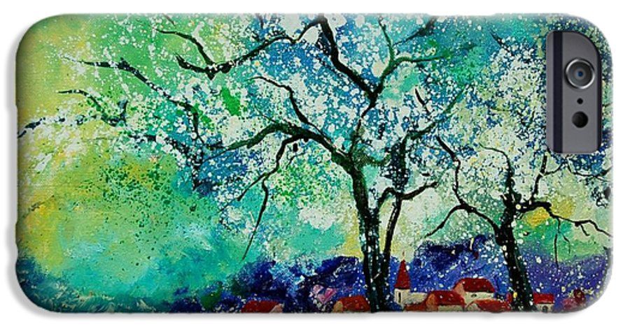 Landscape IPhone 6s Case featuring the painting Poppies And Appletrees In Blossom by Pol Ledent