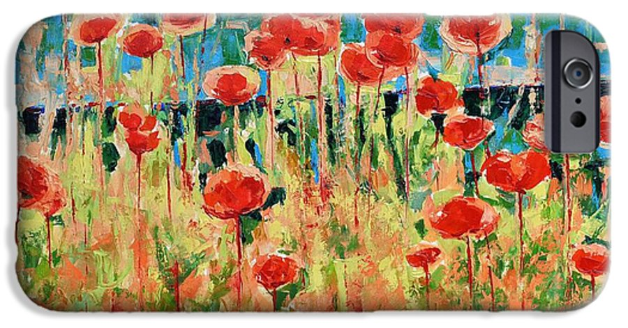 Poppies IPhone 6s Case featuring the painting Poppies And Traverses 2 by Iliyan Bozhanov
