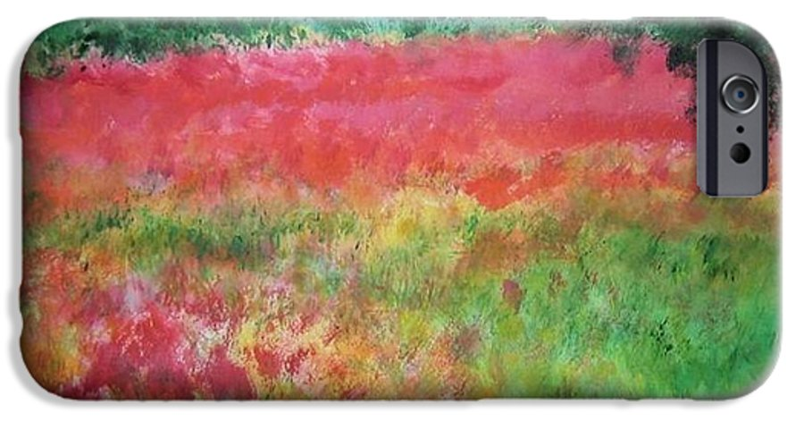 Lanscape IPhone 6s Case featuring the painting Poppy Field by Lizzy Forrester