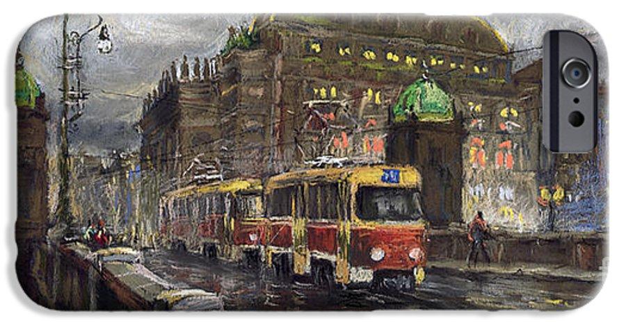 Prague IPhone 6s Case featuring the painting Prague Tram Legii Bridge National Theatre by Yuriy Shevchuk
