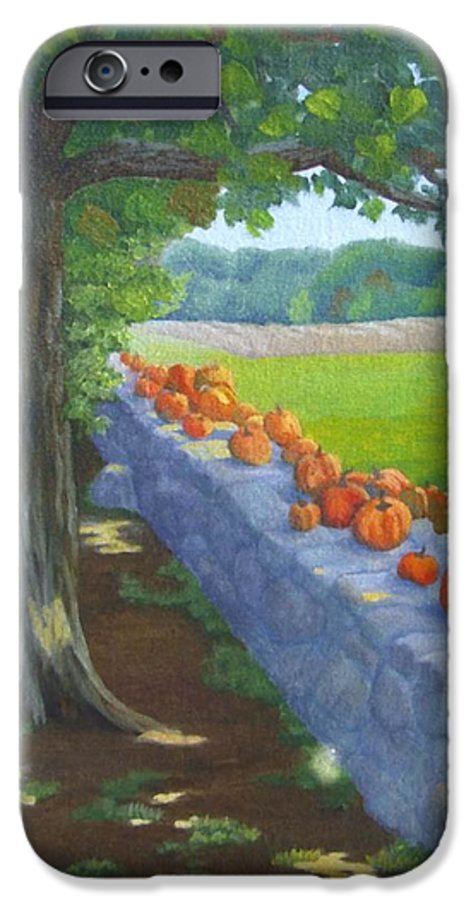 Pumpkins IPhone 6s Case featuring the painting Pumpkin Muster by Sharon E Allen