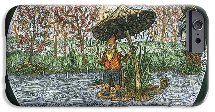 Rain IPhone 6s Case featuring the drawing Rain Gnome Rain Circle by Bill Perkins