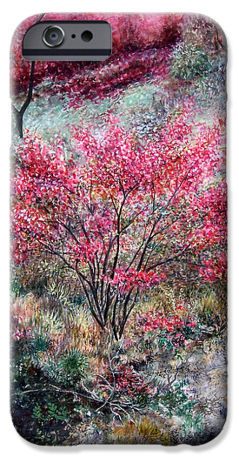 Landscape IPhone 6s Case featuring the painting Red Bush by Valerie Meotti