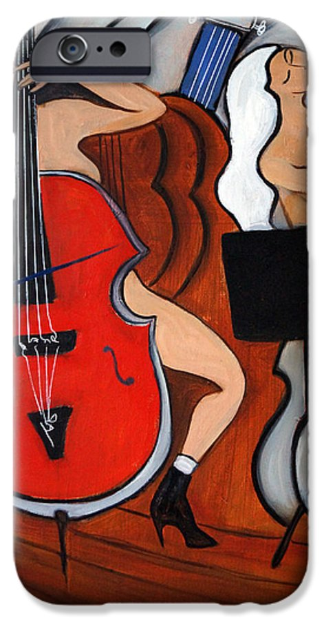 Cubic Abstract IPhone 6s Case featuring the painting Red Cello 2 by Valerie Vescovi
