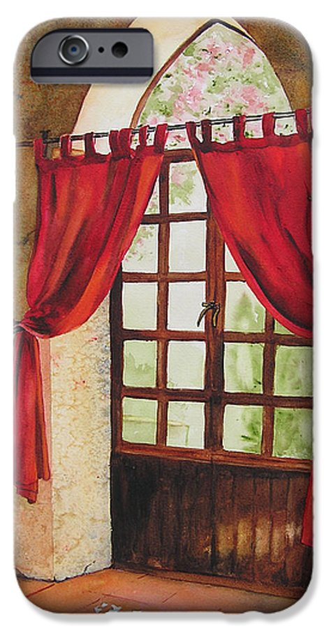 Curtain IPhone 6s Case featuring the painting Red Curtain by Karen Stark