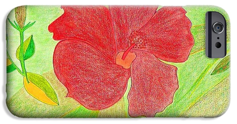 Red Flower IPhone 6s Case featuring the drawing Red Passion by Michael Puya