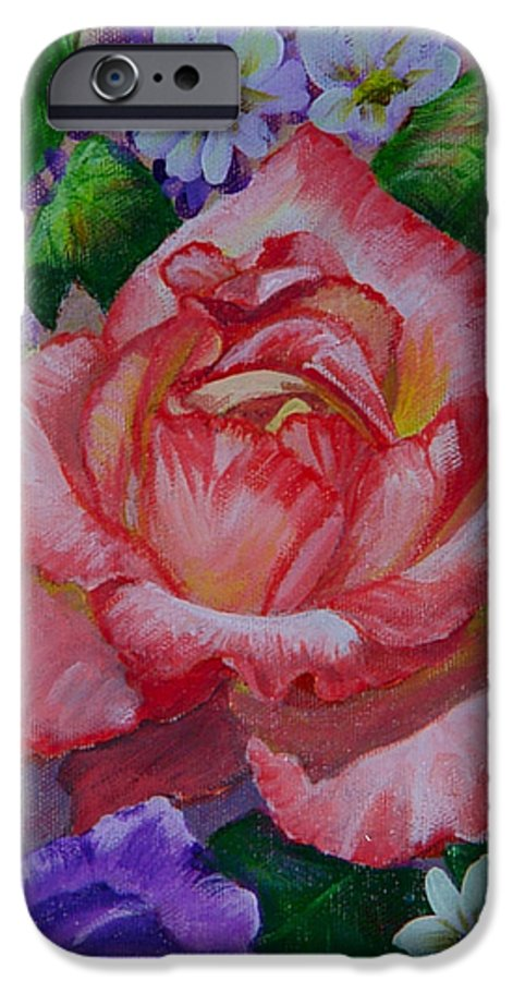 Rose IPhone 6s Case featuring the painting Red Rose by Quwatha Valentine