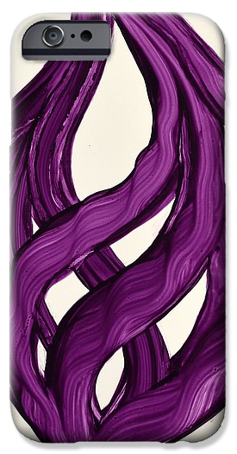 Abstract Art Yupo Comtemporary Modern Pop Romantic Vibrant IPhone 6s Case featuring the painting Ribbons Of Love-violet by Manjiri Kanvinde