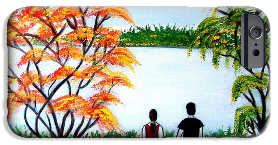 Romance Figures Autumn Orange Trees Green Pop Water Lake Love Valentine Yellow Lake Spring Bloom IPhone 6s Case featuring the painting Romance In Autumn by Manjiri Kanvinde