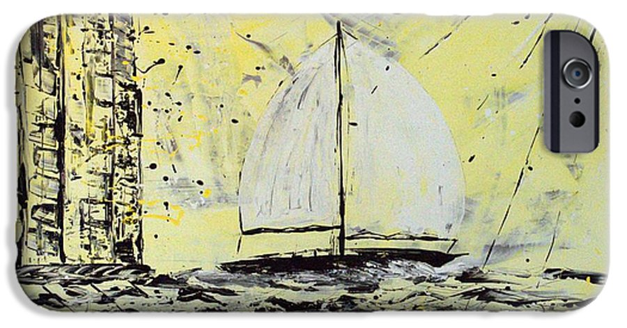 Abstract IPhone 6s Case featuring the painting Sail And Sunrays by J R Seymour