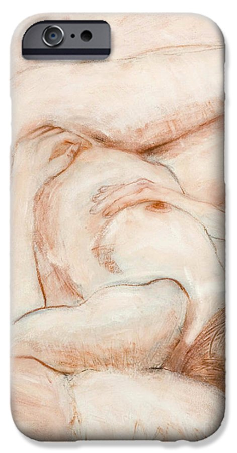 Female IPhone 6s Case featuring the drawing Sanguine Nude by Kerryn Madsen-Pietsch