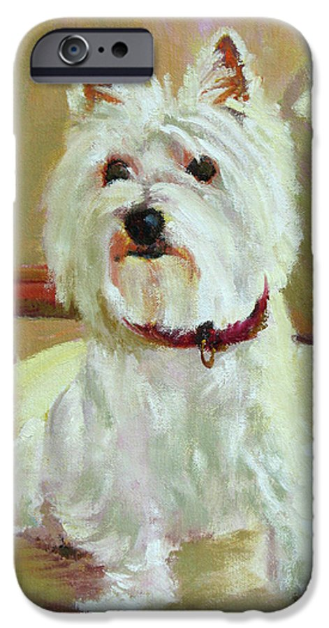 Pet IPhone 6s Case featuring the painting Schatzie by Keith Burgess