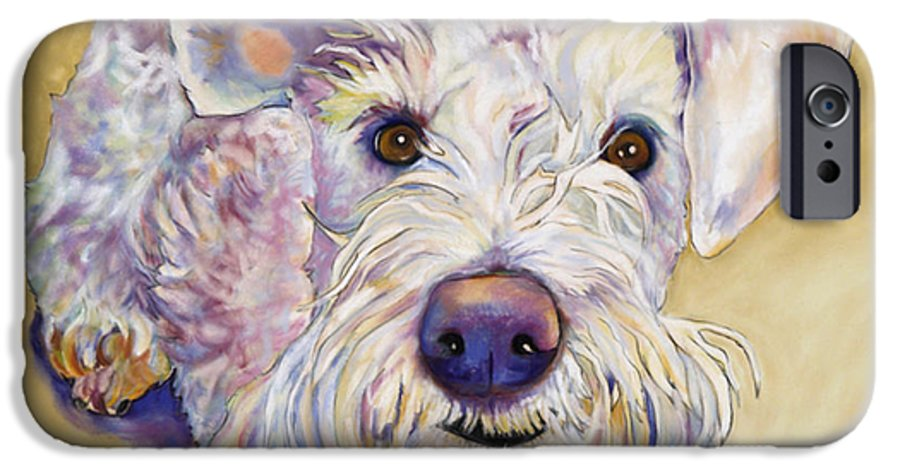 Schnauzer IPhone 6s Case featuring the pastel Scooter by Pat Saunders-White
