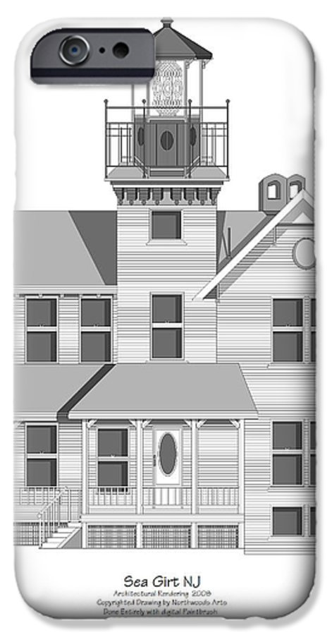 Lighthouse IPhone 6s Case featuring the painting Sea Girt New Jersey Architectural Drawing by Anne Norskog