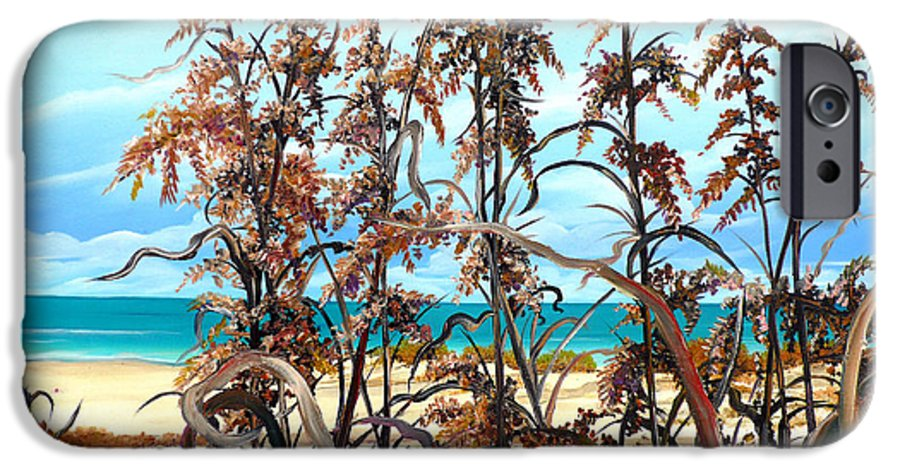 Ocean Painting Sea Oats Painting Beach Painting Seascape Painting Beach Painting Florida Painting Greeting Card Painting IPhone 6s Case featuring the painting Sea Oats by Karin Dawn Kelshall- Best
