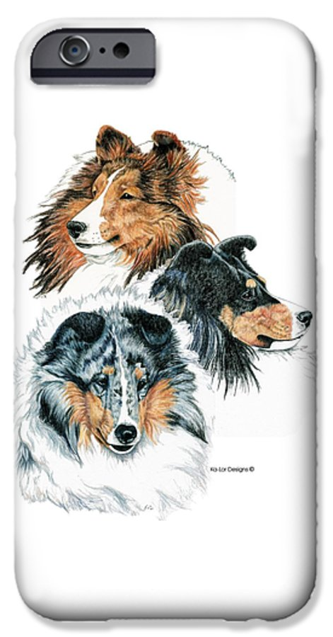 Shetland Sheepdog IPhone 6s Case featuring the drawing Shetland Sheepdogs by Kathleen Sepulveda