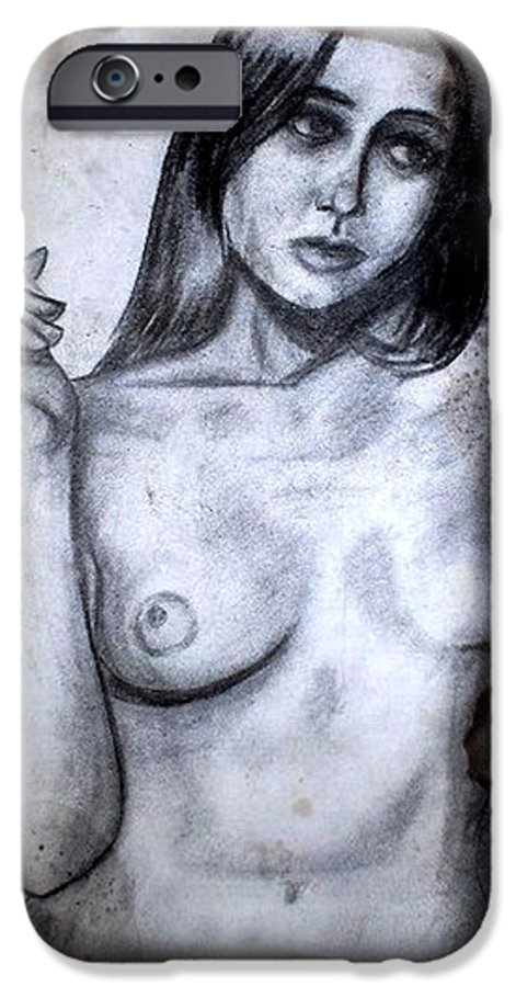 Nude IPhone 6s Case featuring the drawing Smoker by Thomas Valentine