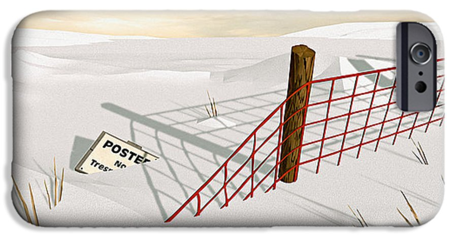 Snow IPhone 6s Case featuring the painting Snow Fence by Peter J Sucy