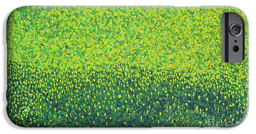 Abstract IPhone 6s Case featuring the painting Soft Green Wet Trees by Dean Triolo