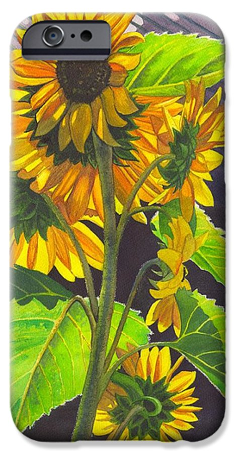 Sunflowers IPhone 6s Case featuring the painting Stalk Of Sunflowers by Catherine G McElroy