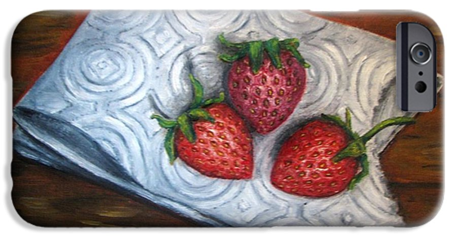 Strawberries IPhone 6s Case featuring the painting Strawberries-3 Contemporary Oil Painting by Natalja Picugina