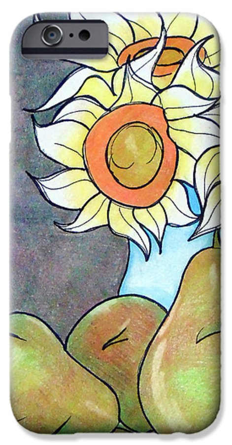 Sunflowers IPhone 6s Case featuring the drawing Sunflowers And Pears by Loretta Nash