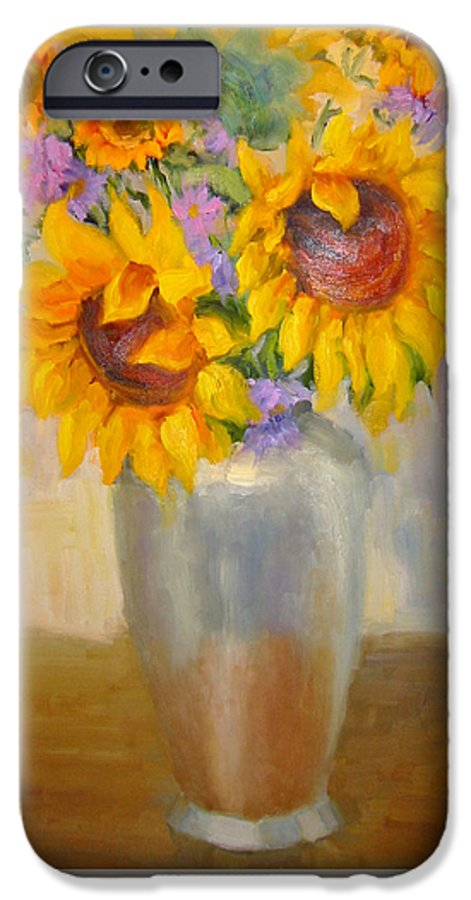 Sunflowers IPhone 6s Case featuring the painting Sunflowers In A Silver Vase by Bunny Oliver