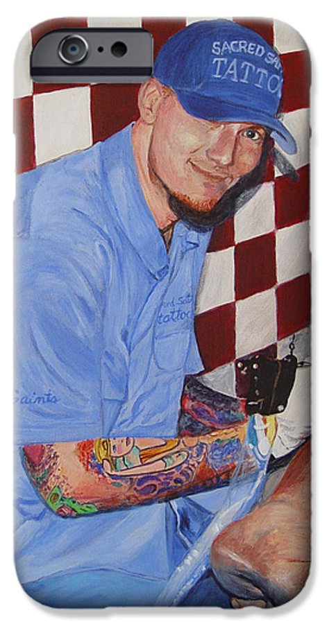 Tattoo IPhone 6s Case featuring the painting Tattoo Artist - Brandon Notch by Quwatha Valentine