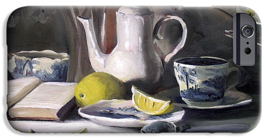 Lemon IPhone 6s Case featuring the painting Tea With Lemon by Nancy Griswold
