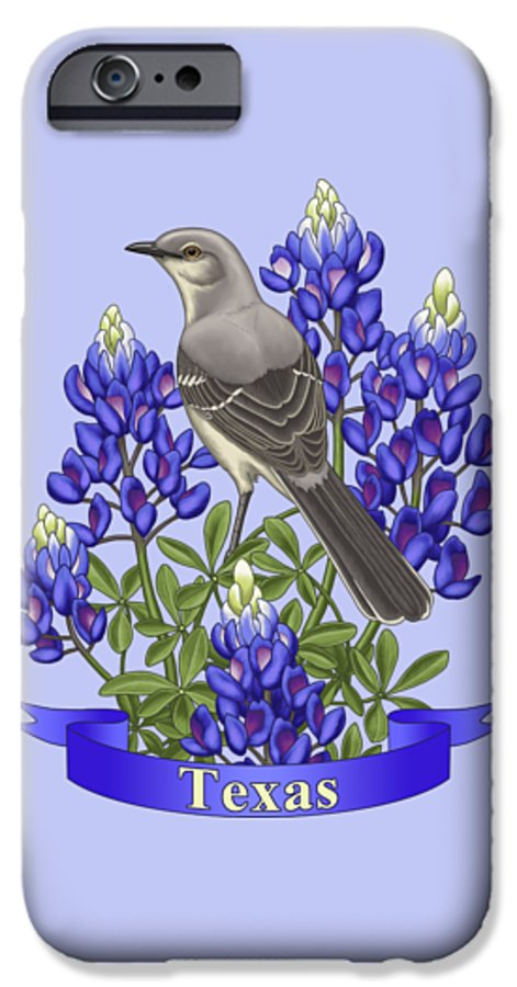 Birds IPhone 6s Case featuring the painting Texas State Mockingbird And Bluebonnet Flower by Crista Forest