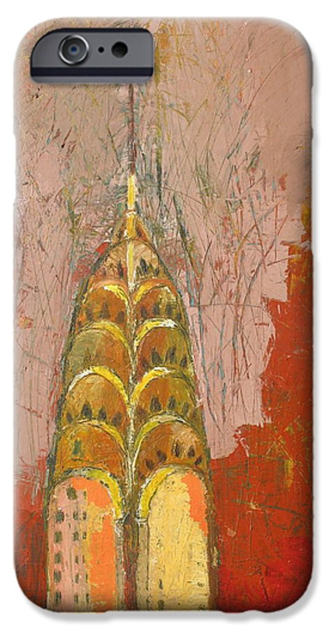 Abstract Cityscape IPhone 6s Case featuring the painting The Chrysler In Motion by Habib Ayat